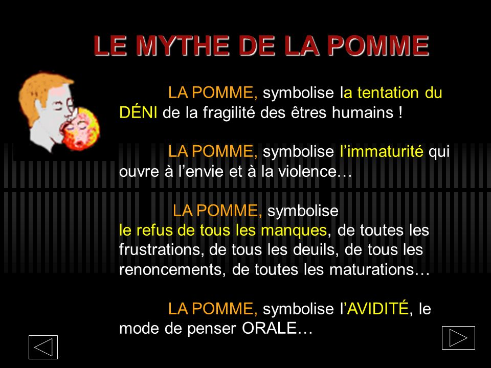 LE MYTHE DE LA POMME LA POMME, symbolise la tentation du DÉNI de la fragilité des êtres humains !