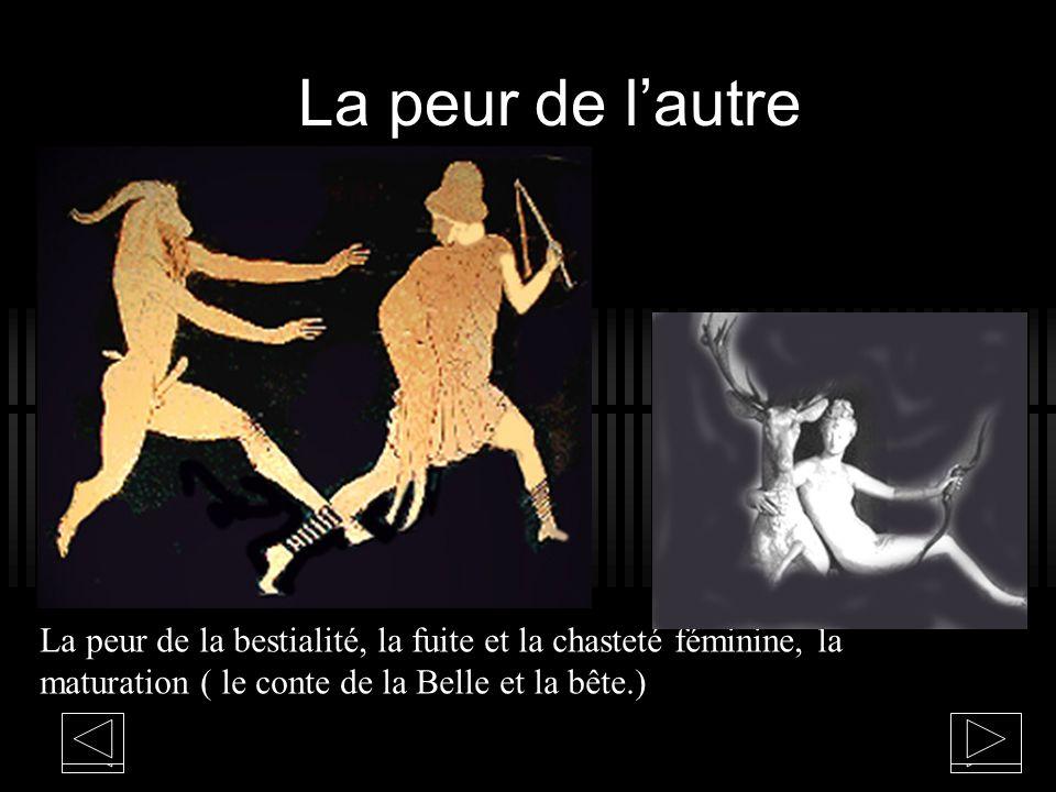 La peur de l'autre La peur de la bestialité, la fuite et la chasteté féminine, la maturation ( le conte de la Belle et la bête.)
