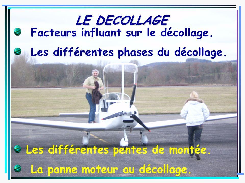 LE DECOLLAGE Facteurs influant sur le décollage.