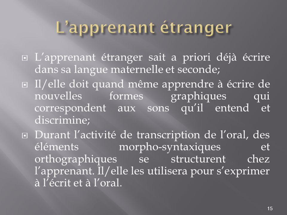 L'apprenant étranger L'apprenant étranger sait a priori déjà écrire dans sa langue maternelle et seconde;