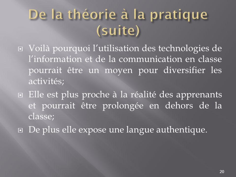 De la théorie à la pratique (suite)