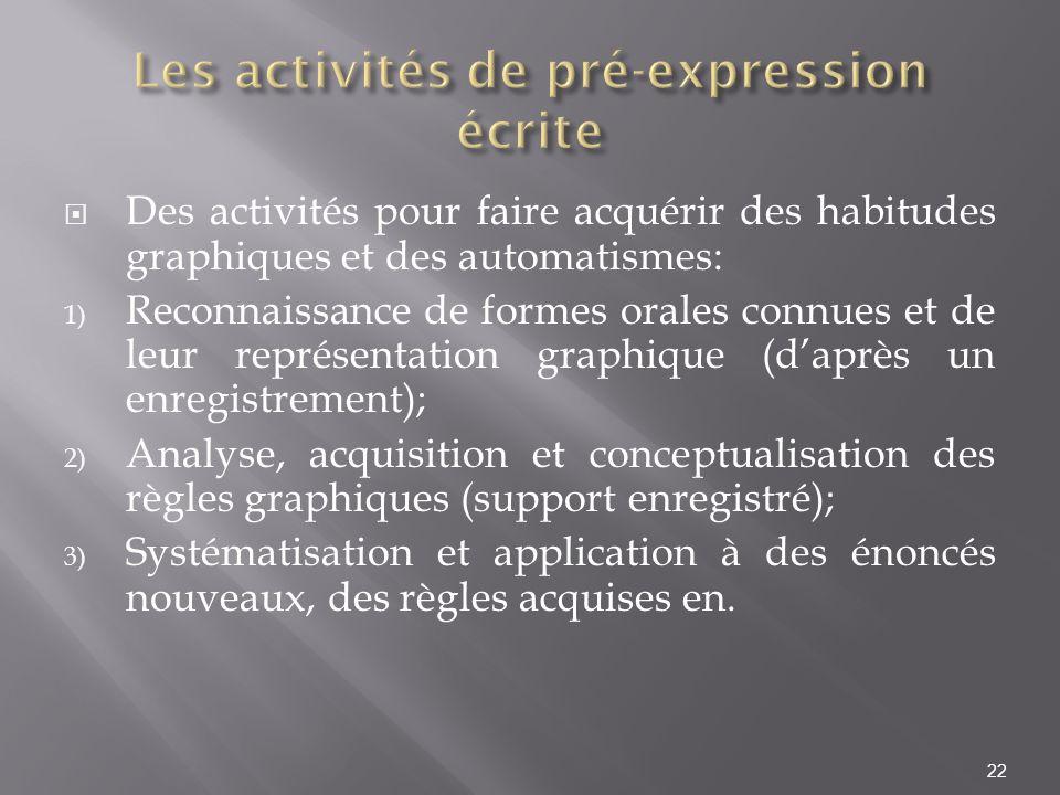 Les activités de pré-expression écrite