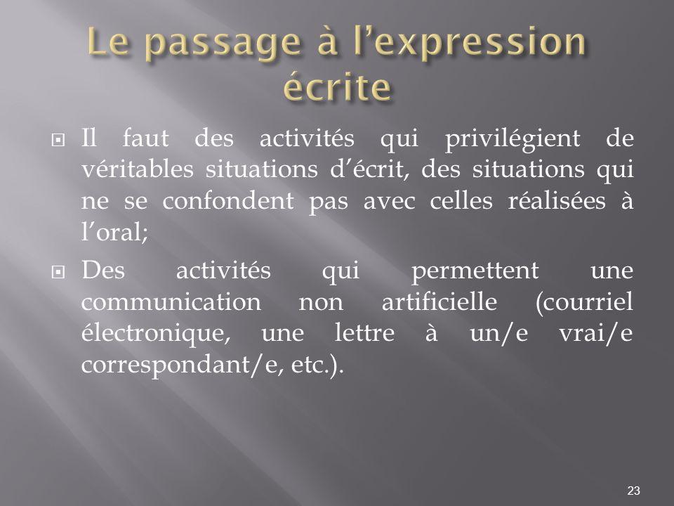 Le passage à l'expression écrite