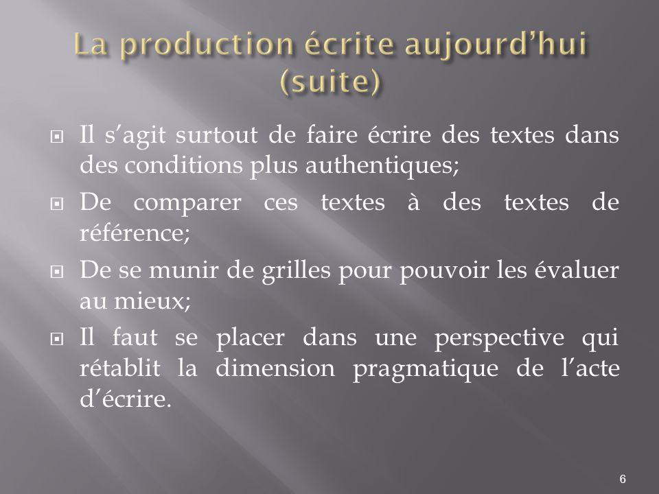 La production écrite aujourd'hui (suite)