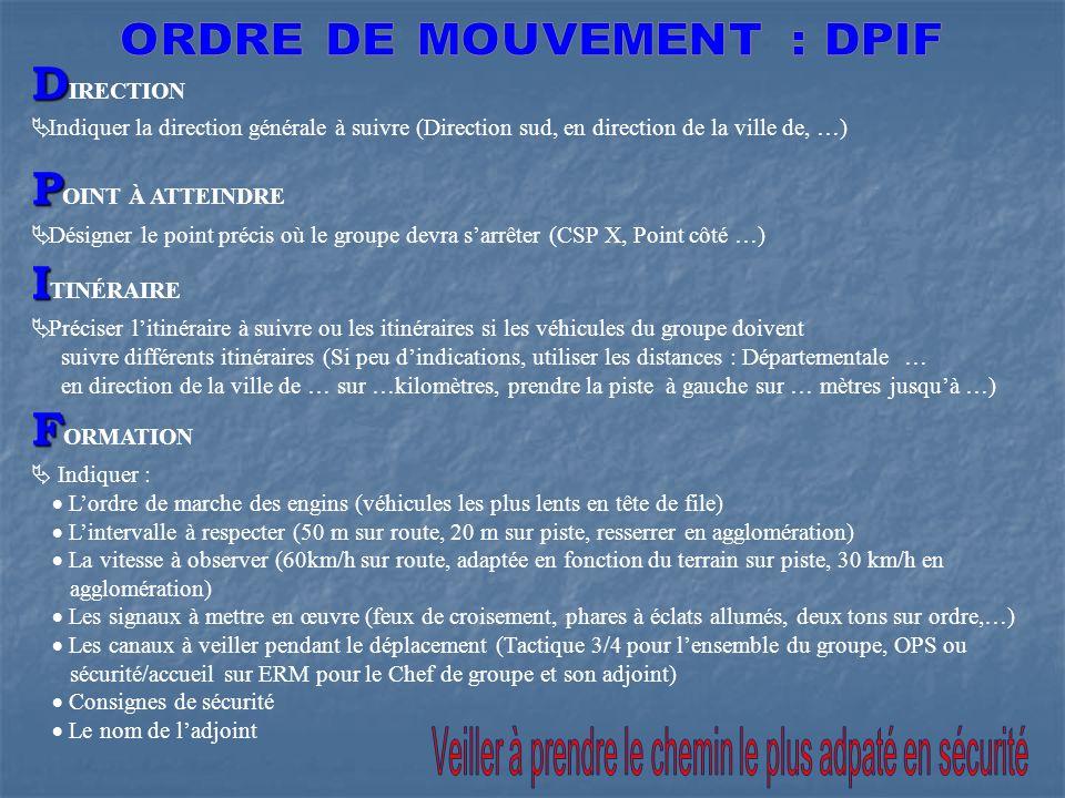 ORDRE DE MOUVEMENT : DPIF