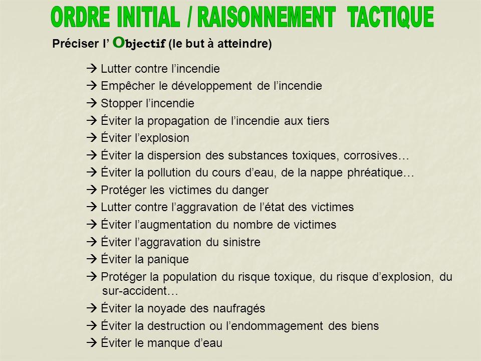 ORDRE INITIAL / RAISONNEMENT TACTIQUE