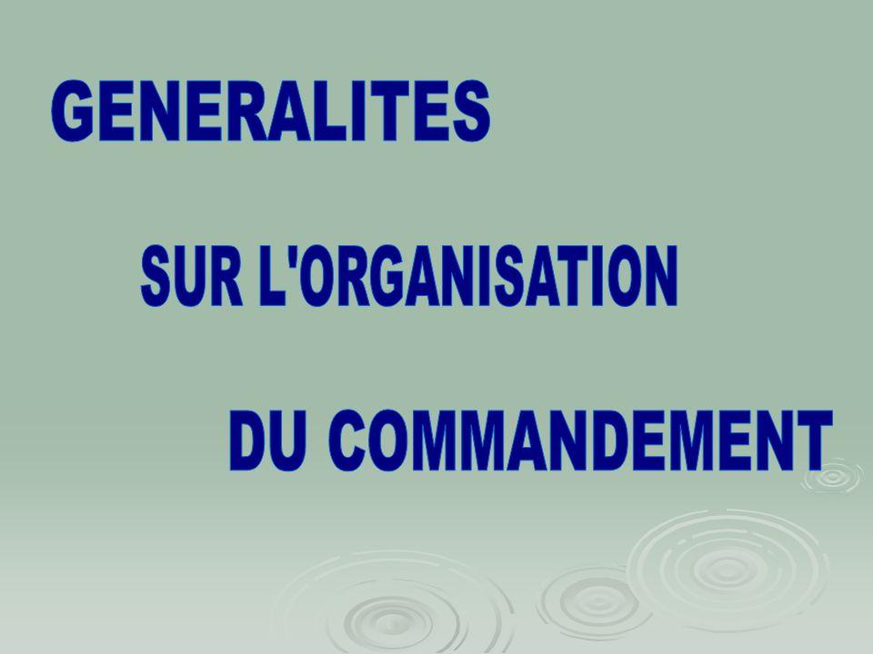 GENERALITES SUR L ORGANISATION DU COMMANDEMENT