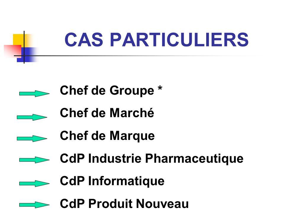 CAS PARTICULIERS Chef de Groupe * Chef de Marché Chef de Marque
