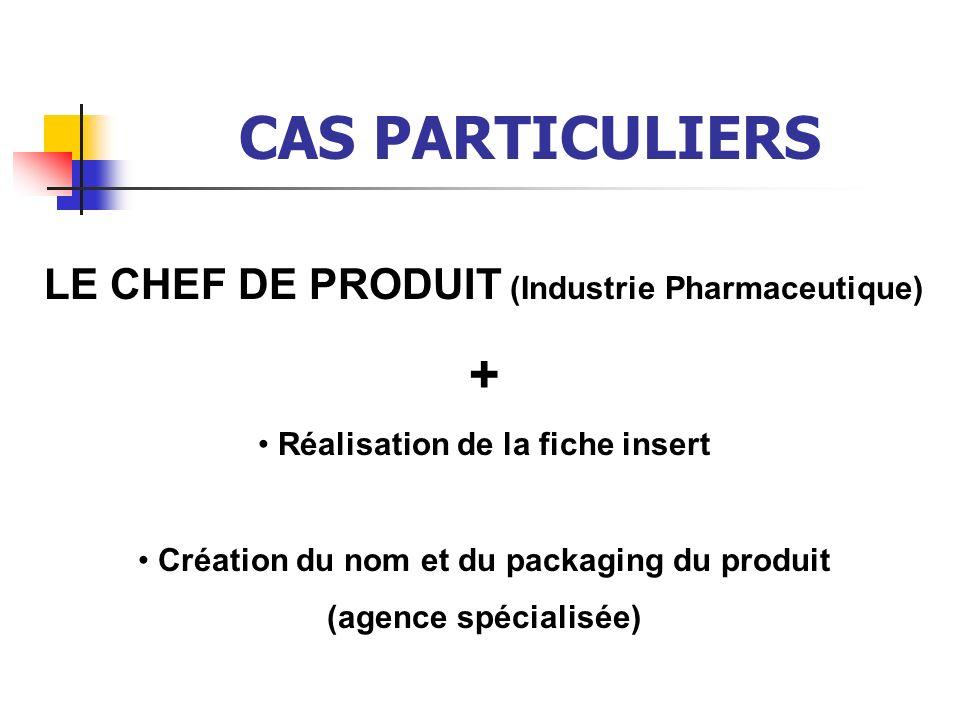 CAS PARTICULIERS + LE CHEF DE PRODUIT (Industrie Pharmaceutique)