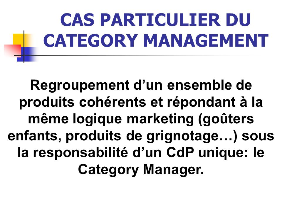 CAS PARTICULIER DU CATEGORY MANAGEMENT