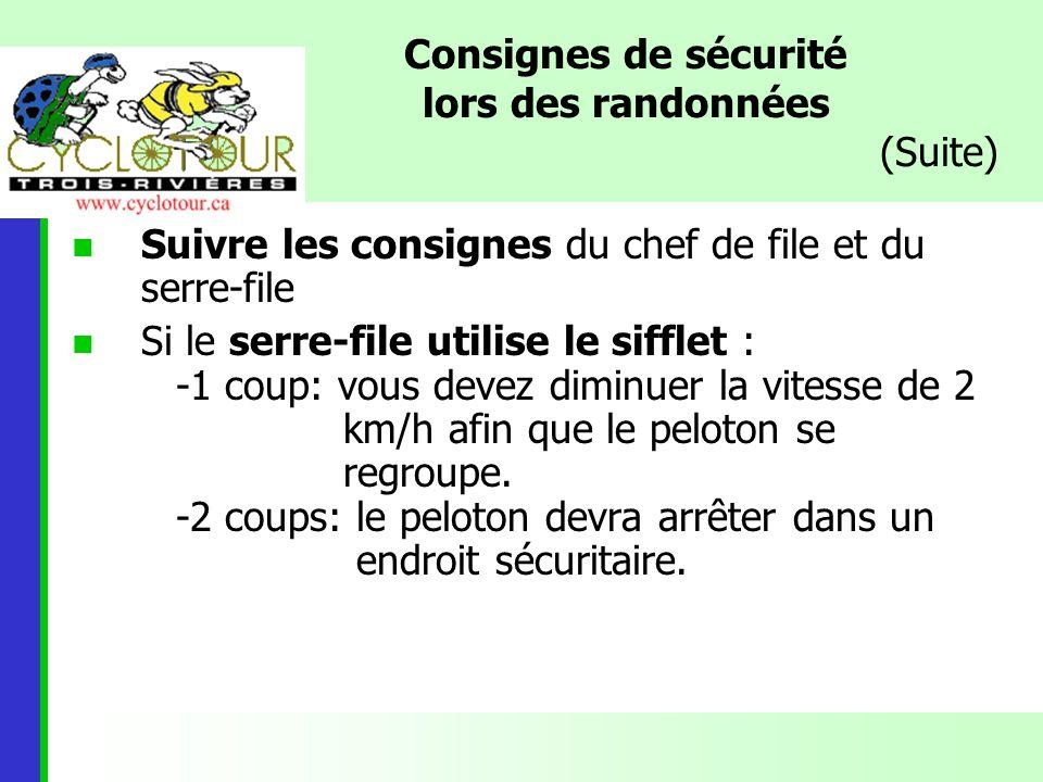 Consignes de sécurité lors des randonnées (Suite)