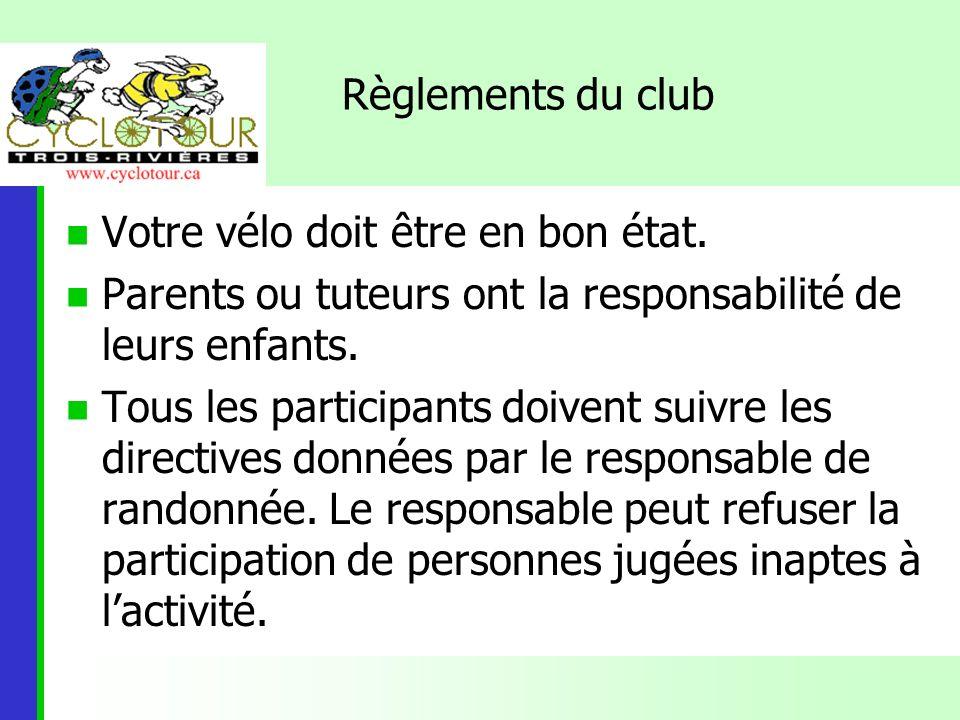 Règlements du club Votre vélo doit être en bon état. Parents ou tuteurs ont la responsabilité de leurs enfants.