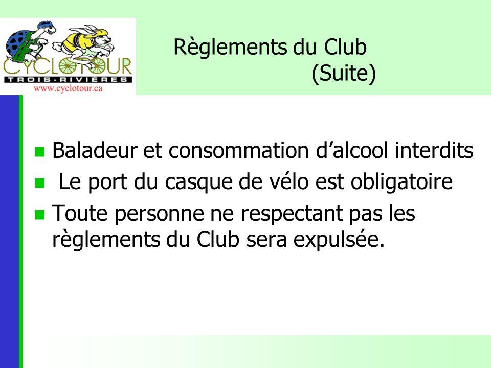 Règlements du Club (Suite)