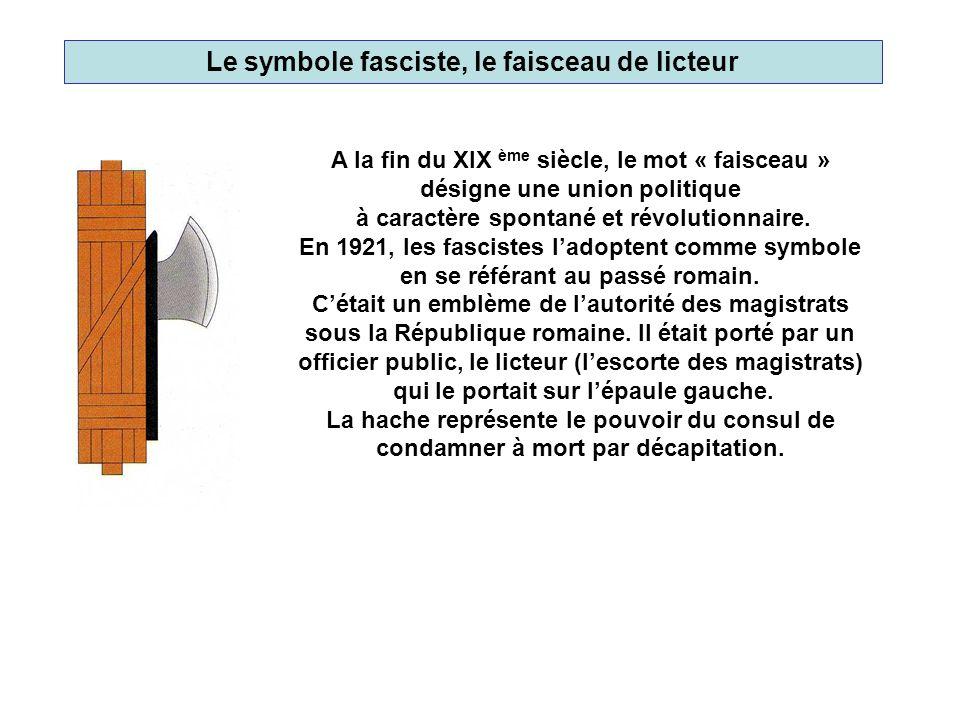 Le symbole fasciste, le faisceau de licteur