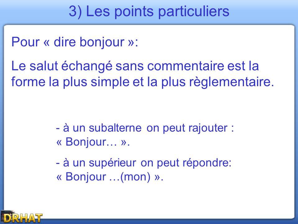 3) Les points particuliers