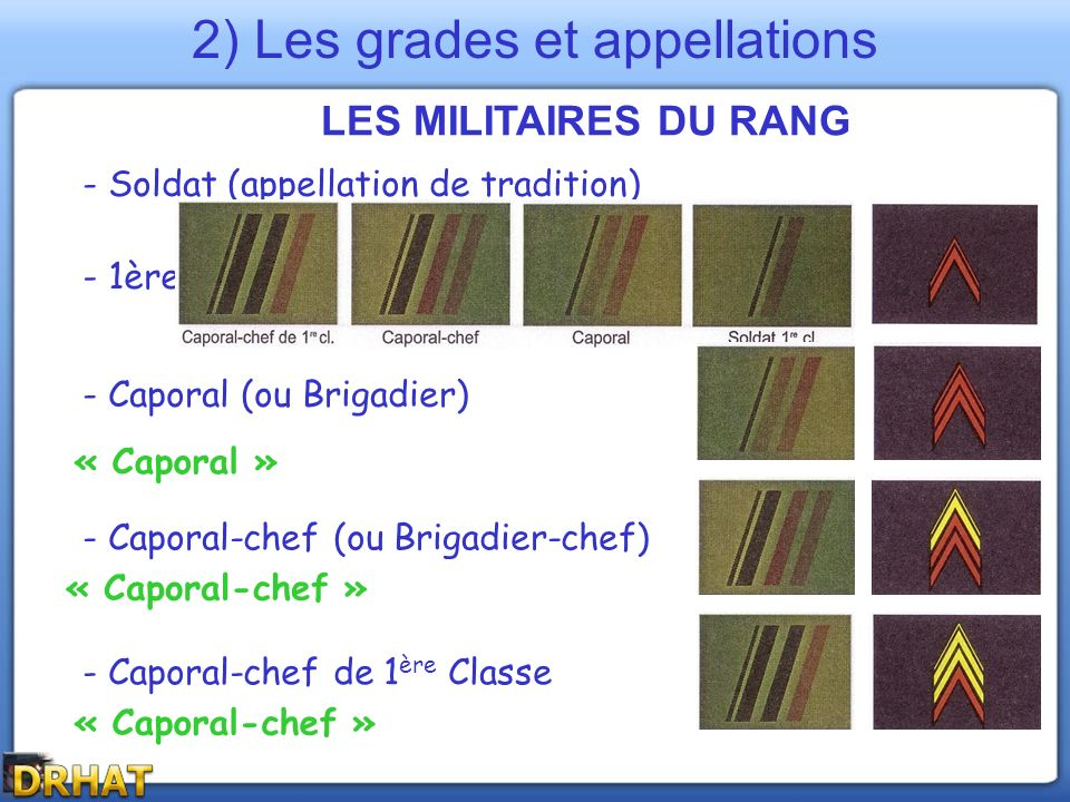 2) Les grades et appellations