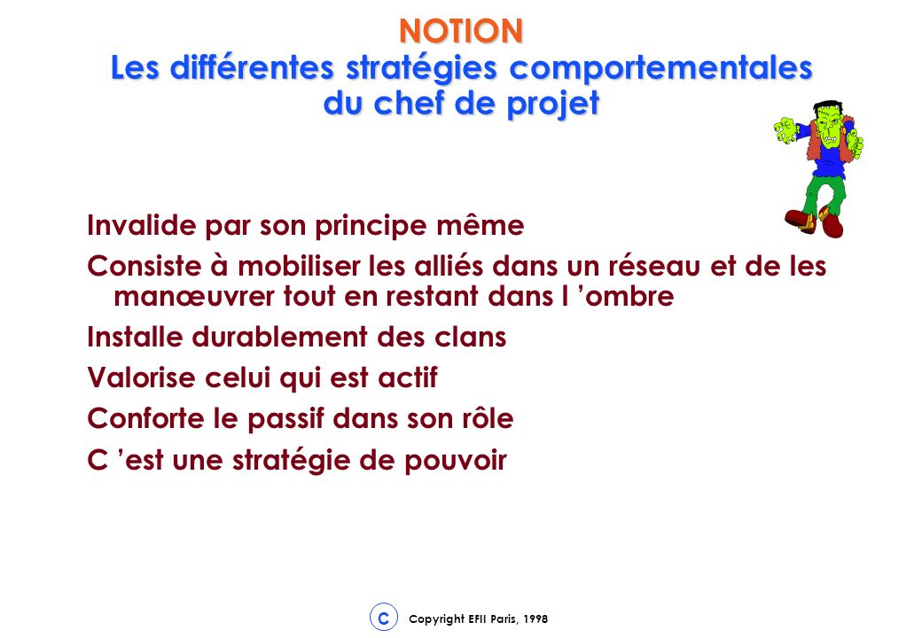 NOTION Les différentes stratégies comportementales du chef de projet