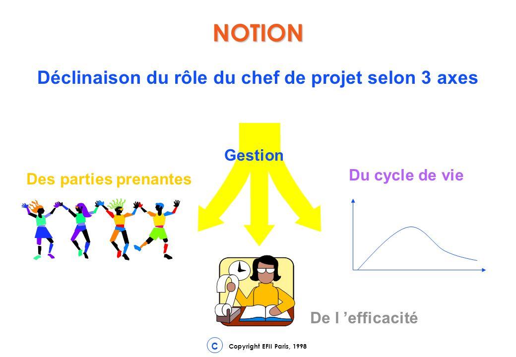 Déclinaison du rôle du chef de projet selon 3 axes