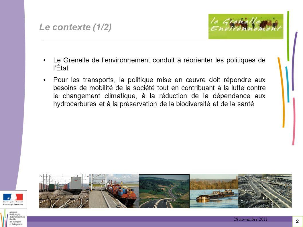 Le contexte (1/2) Le Grenelle de l'environnement conduit à réorienter les politiques de l'État.