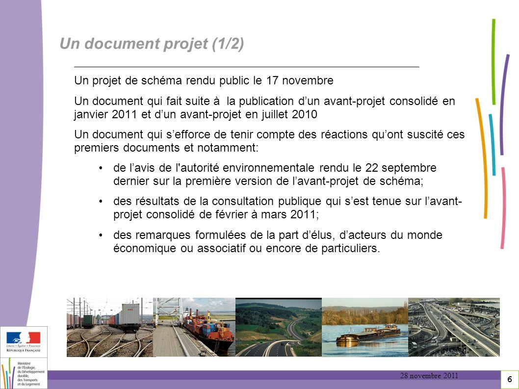 Un document projet (1/2) Un projet de schéma rendu public le 17 novembre.