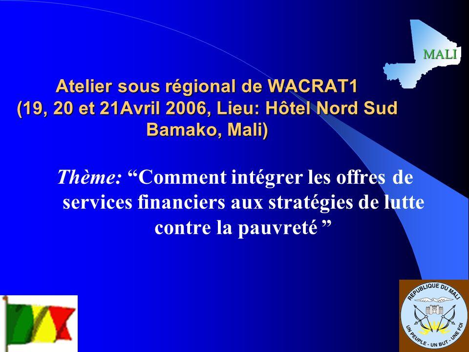 MALI Atelier sous régional de WACRAT1 (19, 20 et 21Avril 2006, Lieu: Hôtel Nord Sud Bamako, Mali)