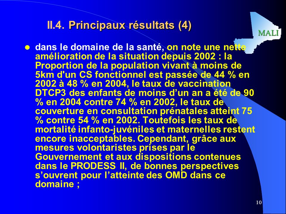 II.4. Principaux résultats (4)
