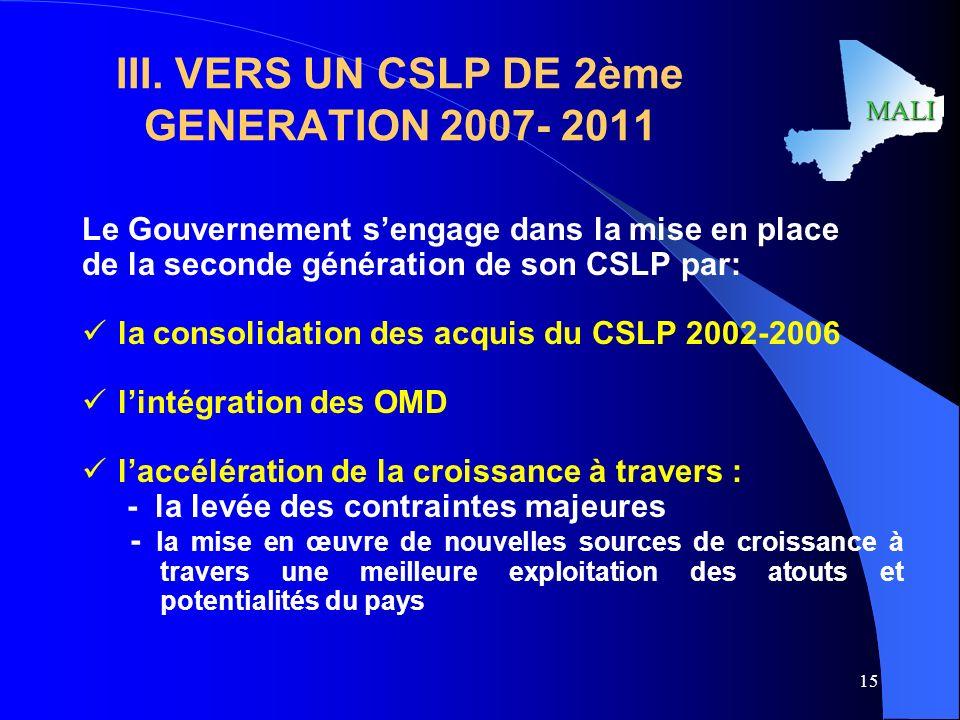 III. VERS UN CSLP DE 2ème GENERATION 2007- 2011