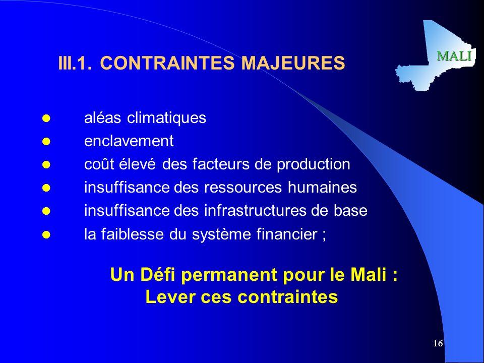 III.1. CONTRAINTES MAJEURES