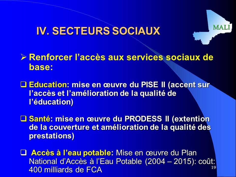 IV. SECTEURS SOCIAUX Renforcer l'accès aux services sociaux de base: