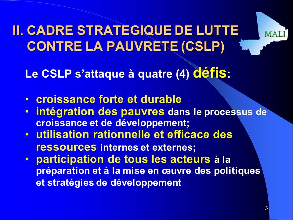 II. CADRE STRATEGIQUE DE LUTTE CONTRE LA PAUVRETE (CSLP)