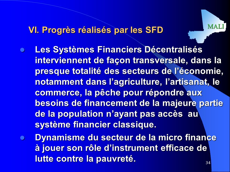 VI. Progrès réalisés par les SFD