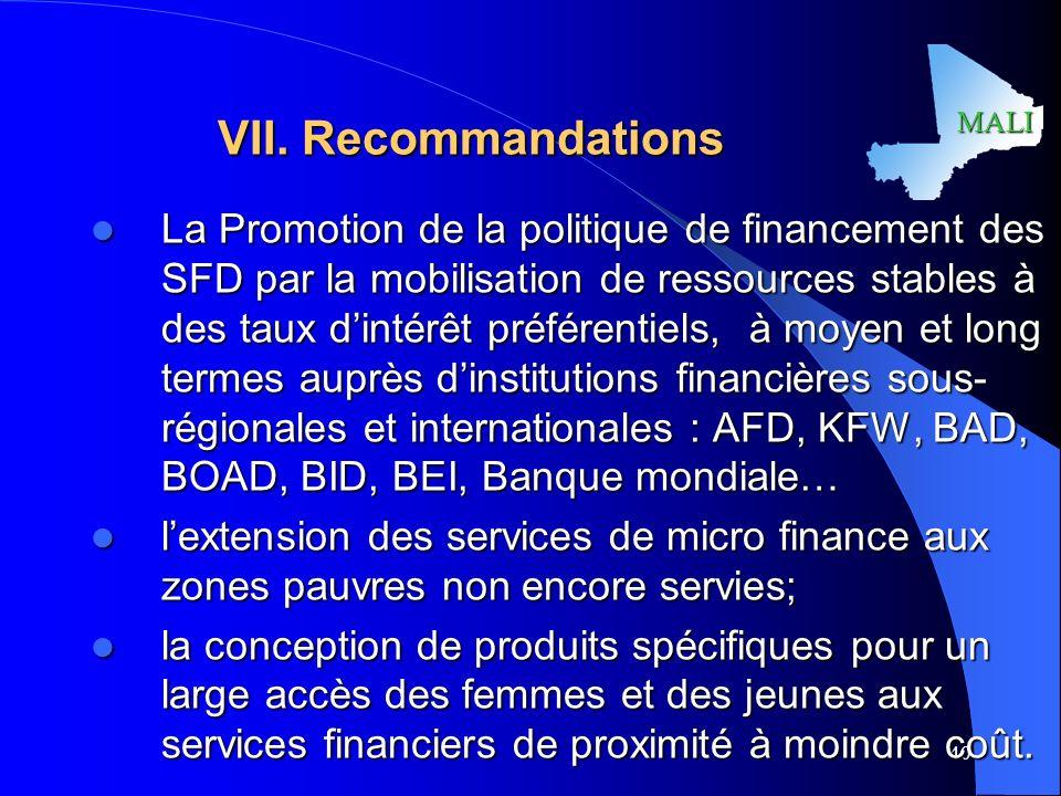 VII. Recommandations