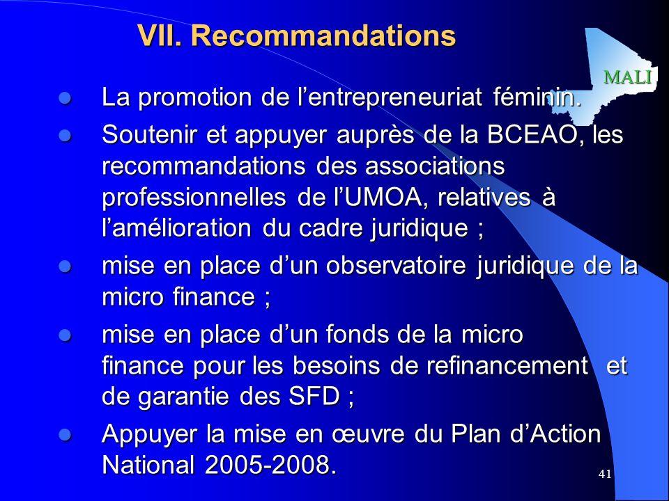 VII. Recommandations La promotion de l'entrepreneuriat féminin.