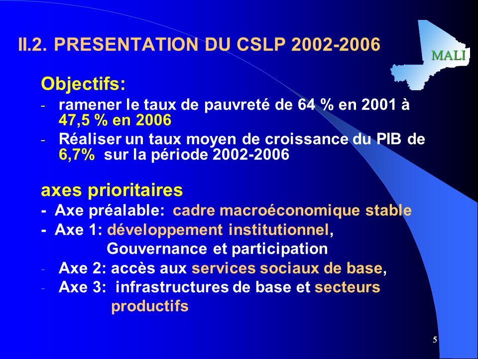 II.2. PRESENTATION DU CSLP 2002-2006
