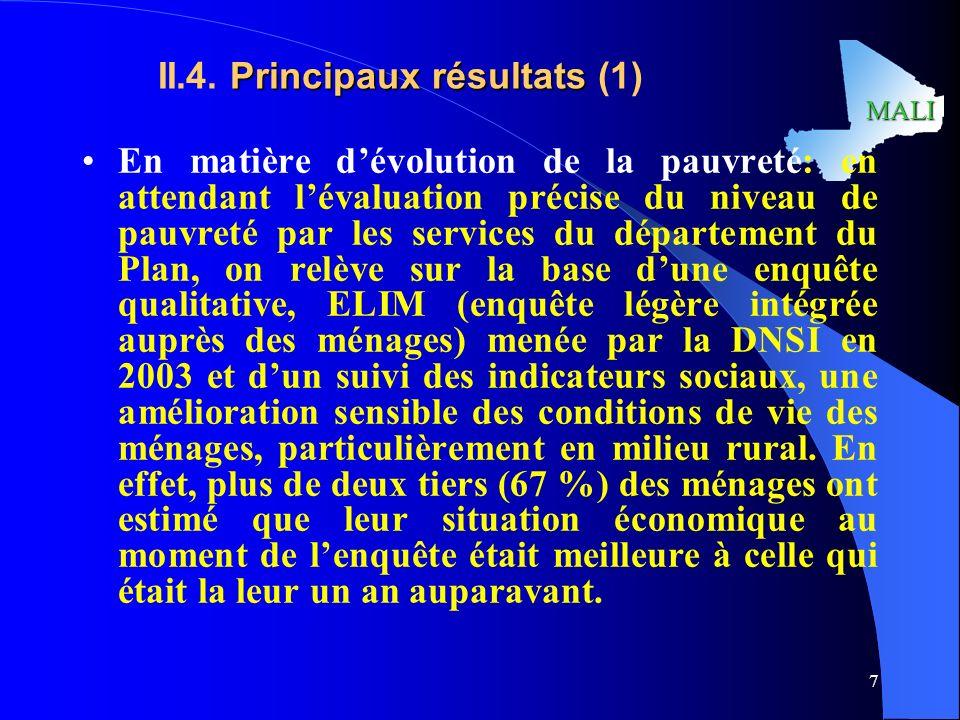II.4. Principaux résultats (1)
