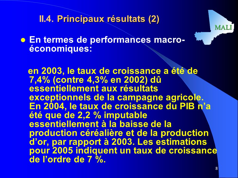 II.4. Principaux résultats (2)