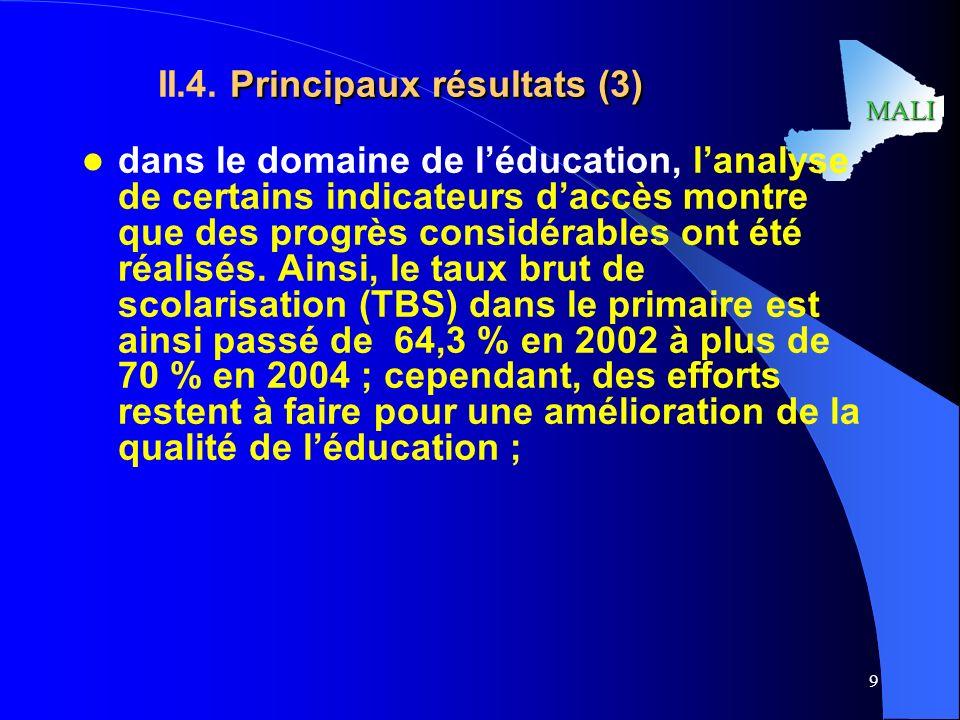 II.4. Principaux résultats (3)