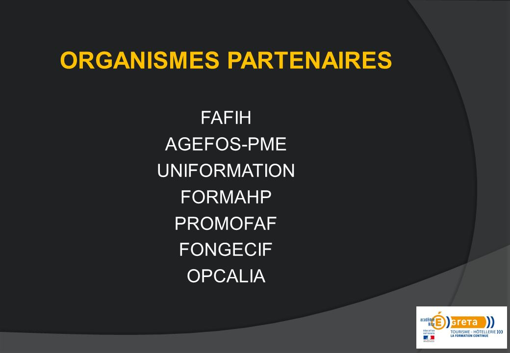 ORGANISMES PARTENAIRES