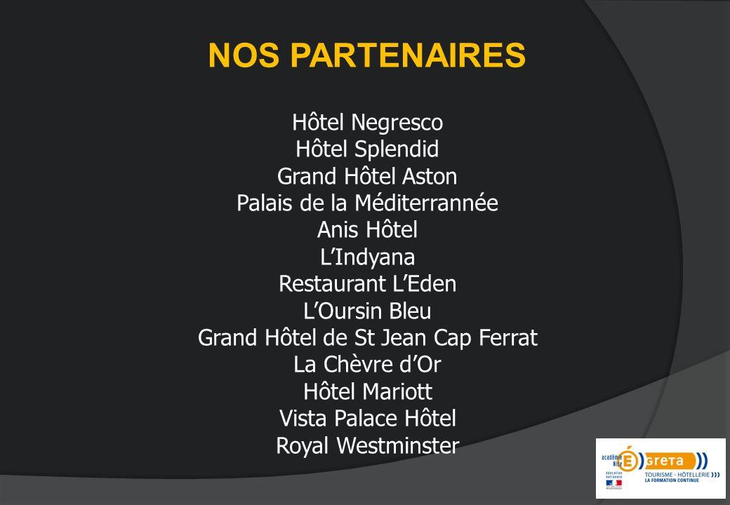 NOS PARTENAIRES Hôtel Negresco Hôtel Splendid Grand Hôtel Aston