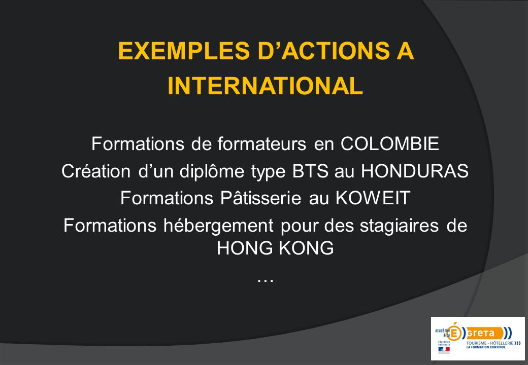 EXEMPLES D'ACTIONS A INTERNATIONAL