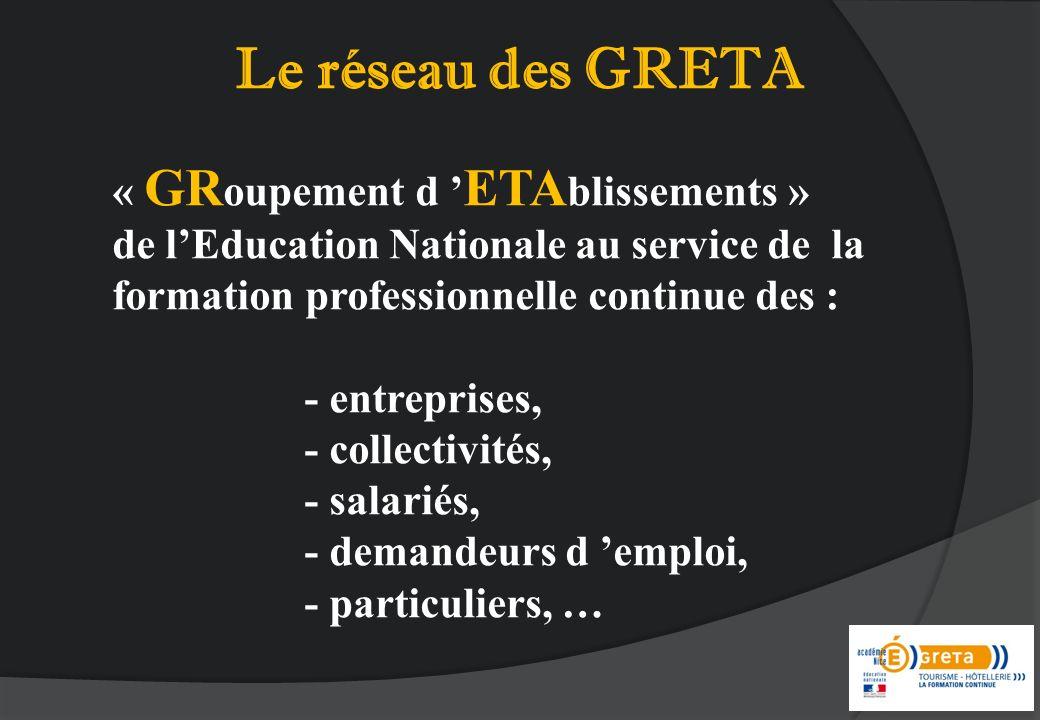 Le réseau des GRETA « GRoupement d 'ETAblissements »