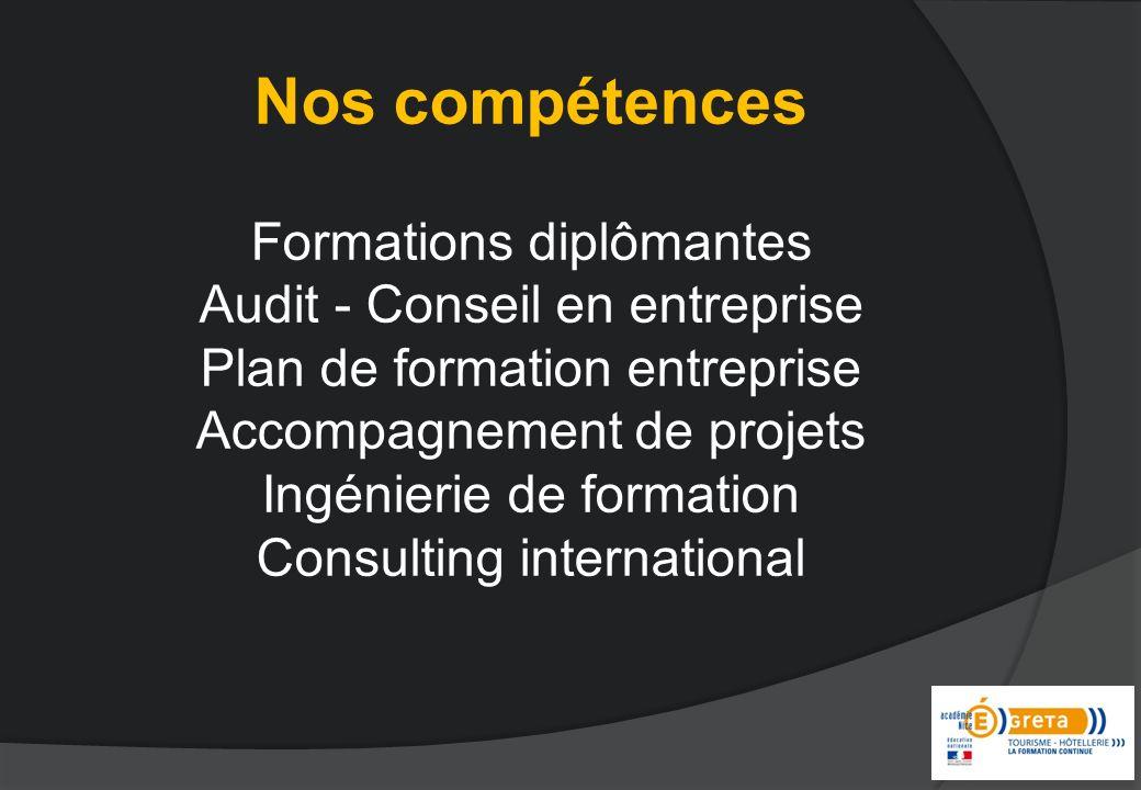 Nos compétences Formations diplômantes Audit - Conseil en entreprise