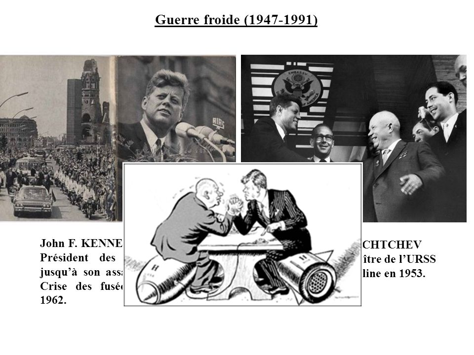 Guerre froide (1947-1991) John F. KENNEDY (1917-1963), Président des USA de 1961 jusqu'à son assassinat en 1963. Crise des fusées de Cuba en 1962.