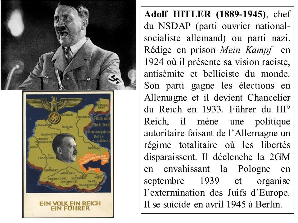 Adolf HITLER (1889-1945), chef du NSDAP (parti ouvrier national-socialiste allemand) ou parti nazi.