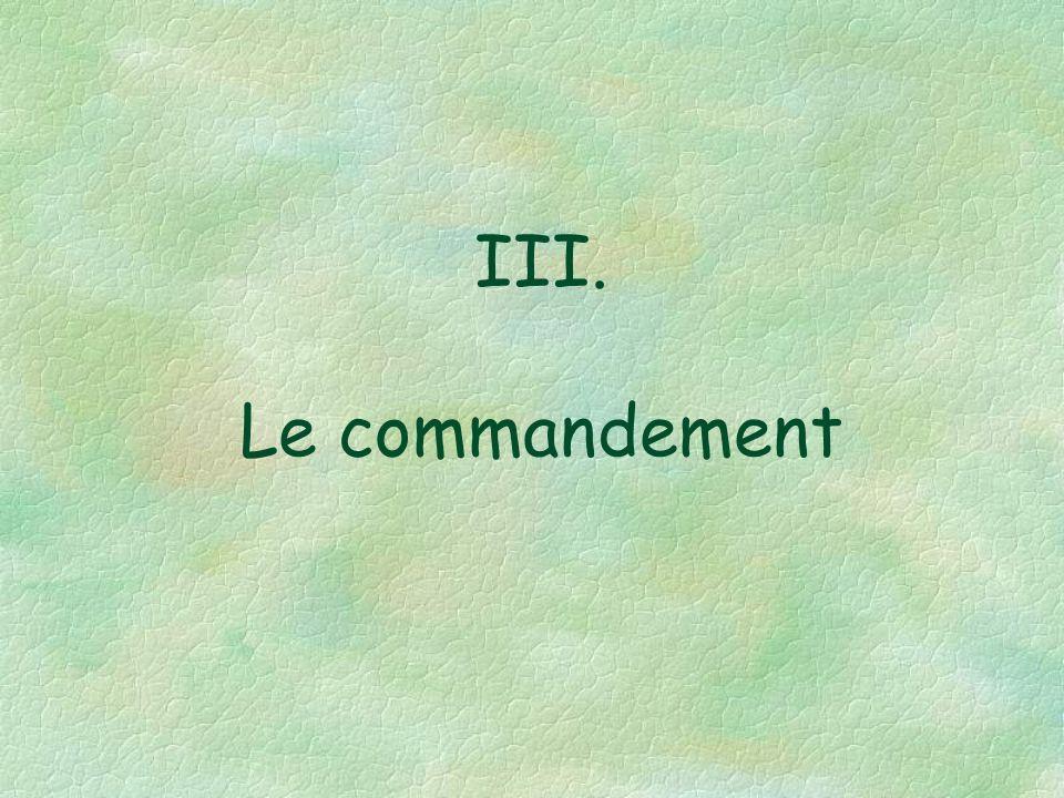III. Le commandement