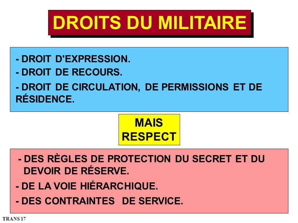 DROITS DU MILITAIRE MAIS RESPECT - DROIT D EXPRESSION.