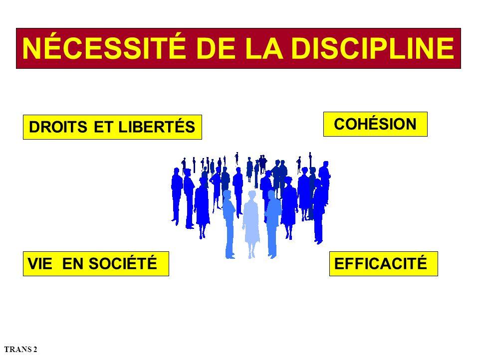 NÉCESSITÉ DE LA DISCIPLINE