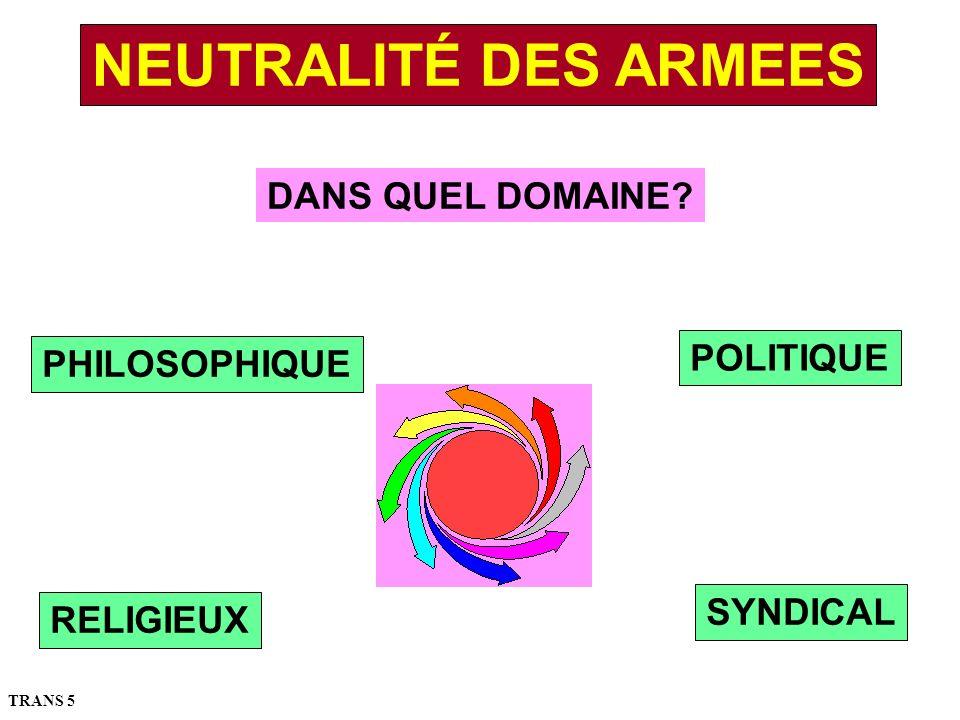 NEUTRALITÉ DES ARMEES DANS QUEL DOMAINE POLITIQUE PHILOSOPHIQUE
