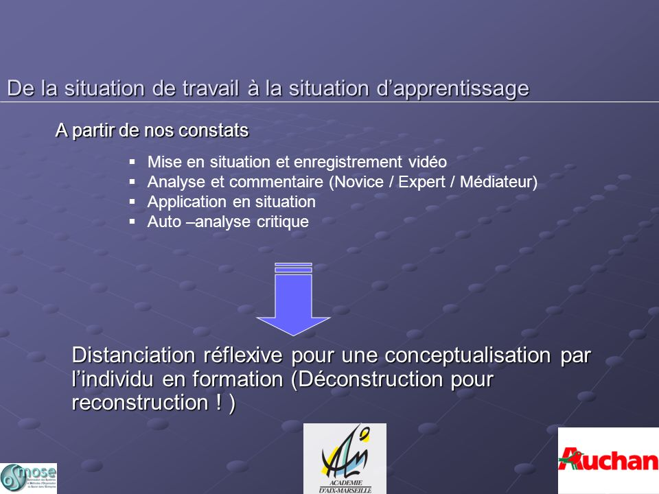De la situation de travail à la situation d'apprentissage