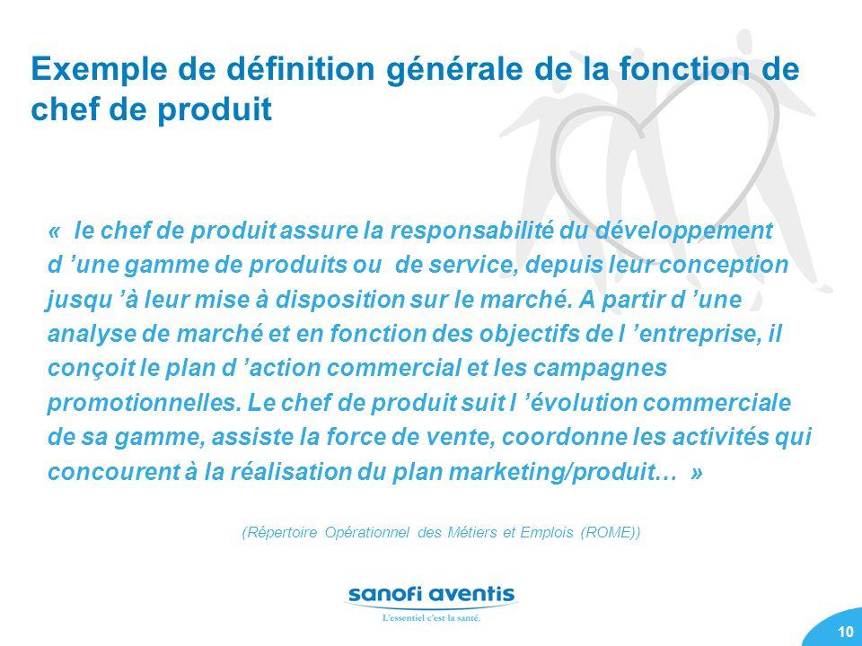 Exemple de définition générale de la fonction de chef de produit